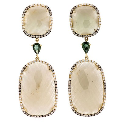 18K Yellow Gold Yellow Sapphire Slices Earrings