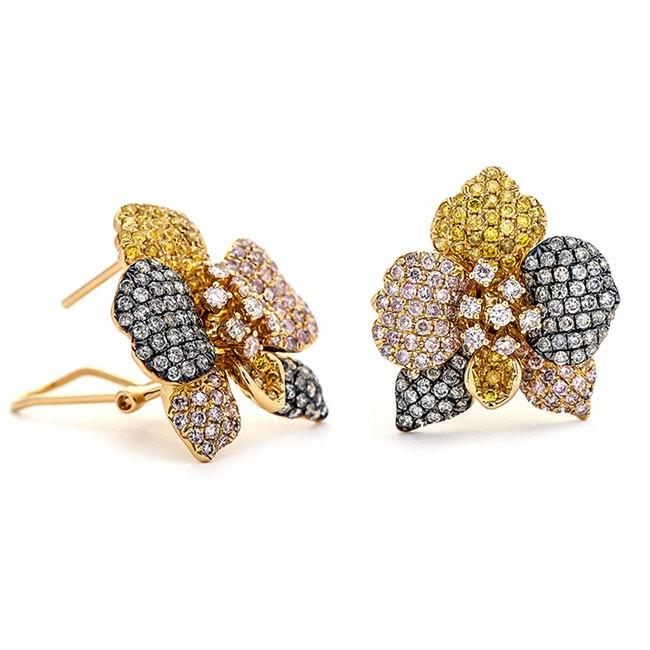 18K Yellow Gold Yellow Diamond Earrings