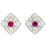 18K Two-tone Gold Ruby Studs