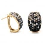 18K Yellow Gold Black Diamond Earrings