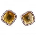 18K Rose Gold Yellow Fancy Flat Diamond Studs