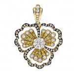 18K Yellow Gold Champagne Diamond Pendant