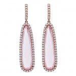 18K Rose Quartz Diamonds Earrings
