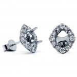 18K White Gold Semi-Mount for 5x4mm Marquise Center Studs