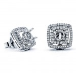 18K White Gold Semi-Mount for a 0.50ct Round Center Studs
