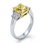 Platinum and 18K Yellow Gold Fancy Diamond Ring