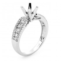 18K White Gold Semi-Mount for a 0.50ct Round Center