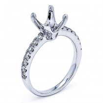 18K White Gold Semi-Mount for 1.50ct Round Center