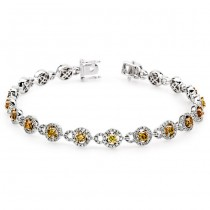 18K Two-tone Gold Yellow Diamond Bracelet