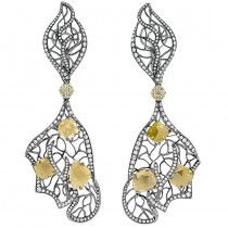 18K White Gold Yellow Diamond Earrings