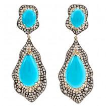14K Yellow Gold Turquoise Earrings