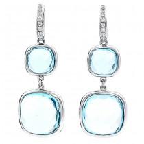 18K White Gold Blue Topaz Earrings