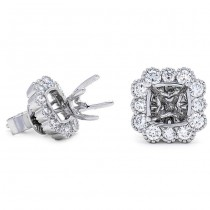 18K White Gold Semi-Mount for 0.75ct Cushion Center Studs
