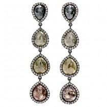18K Black Rhodium Long Fancy Rustic Diamond Earrings