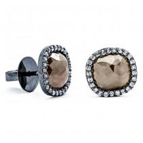 18K Black Rhodium Fancy Rustic Diamond Studs