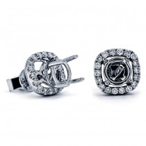 18K White Gold Semi-Mount for a 1.00ct Round Center Studs