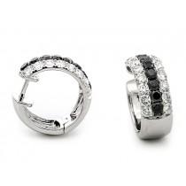18K White Gold Black Diamond Huggies