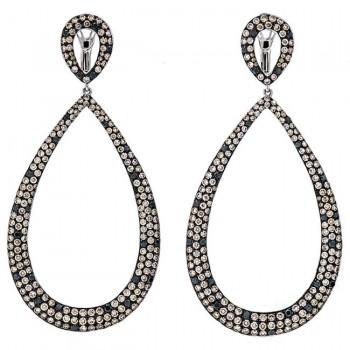 18K White Gold Brown Diamond Earrings
