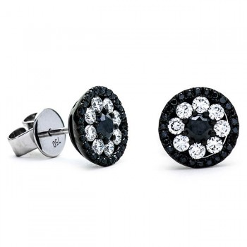 18K White Gold Black Diamond Studs