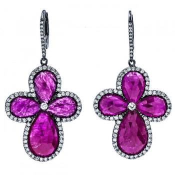 18K Black Rhodium Rustic Ruby Slice Earrings