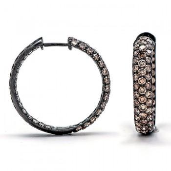 18K Black Rhodium Brown Diamond Hoops